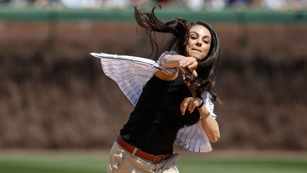 Mila Kunis Throws First Pitch for Chicago Cubs