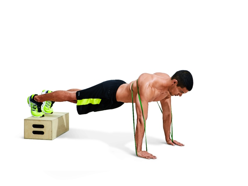 Resistance Band Pushup with Elevated Feet