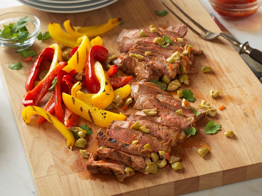 Spanish Style Grilled Steak Olives Cutting Board