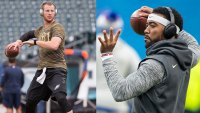 Tyrod Taylor and Carson Wentz  warm up with Bose