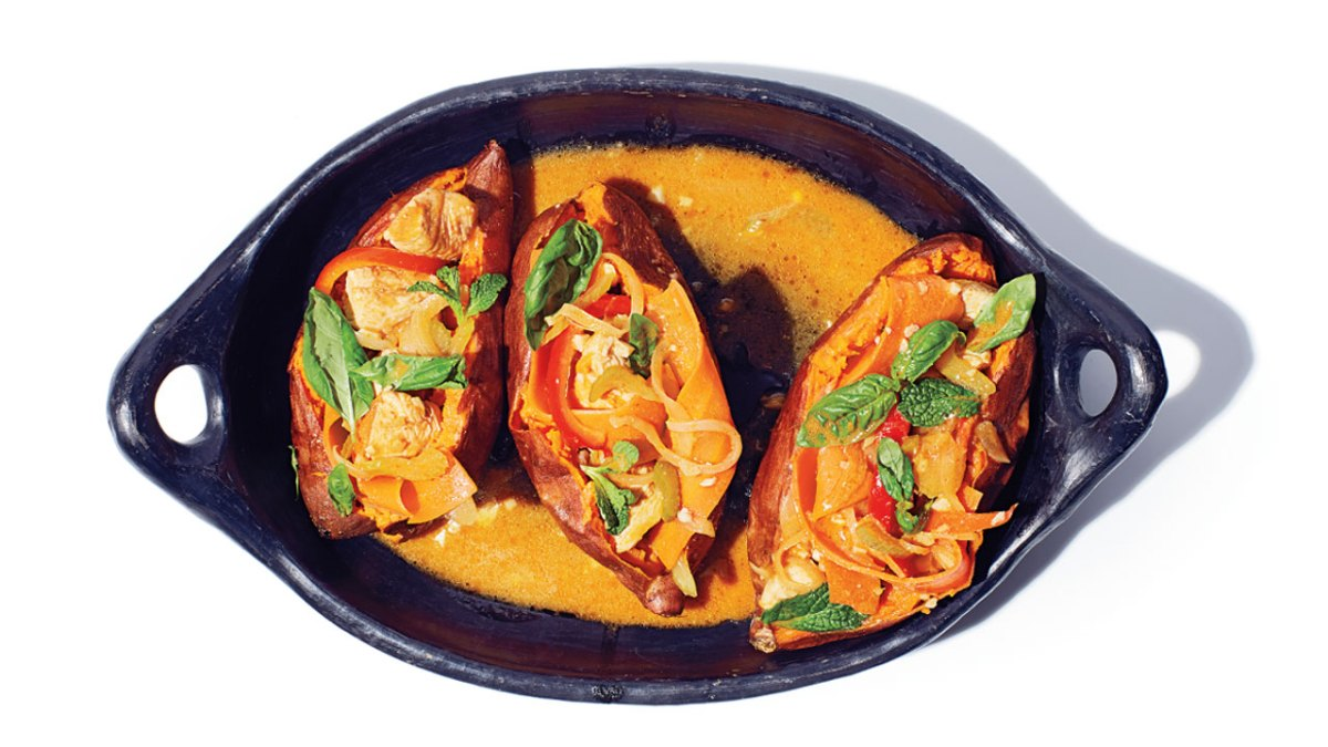 Thai Chicken- and Curry-stuffed Sweet Potatoes