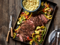 Grilled Southwest steak and colorful vegetables