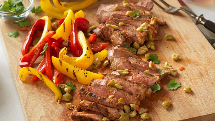 Spanish-style grilled steak with olives
