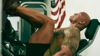 The Rock doing leg presses in the Project Rock Delta shoe