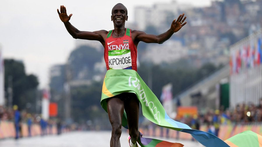 Eliud Kipchoge wins the 2016 Olympic marathon in Rio de Janiero.