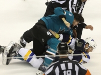 San Jose Sharks Dillon Gets Into NHL Hockey Fight