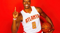 Dwight Howard #8 of the Atlanta Hawks poses during media day on September 26, 2016 in Atlanta, Georgia