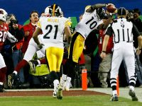 Santonio Holmes #10 of the Pittsburgh Steelers during Super Bowl XLIII