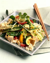 1. Ginger stir-fry with chicken & bell peppers over brown rice