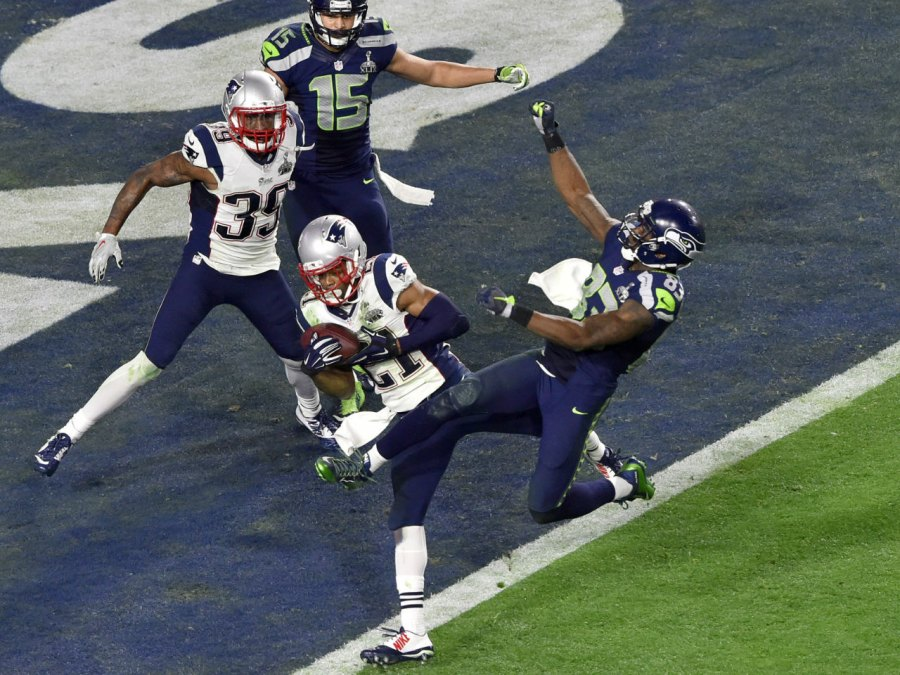 Malcolm Butler #21 of the New England Patriots during Super Bowl XLIX