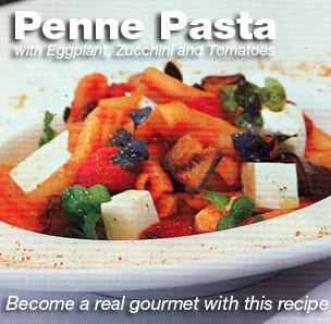 Penne With Eggplant, Zucchini and Tomatoes