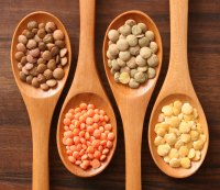 Lentils on spoon