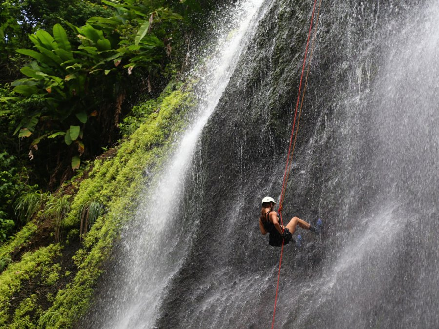 Abseiling Errand Waterfall in St. Lucia