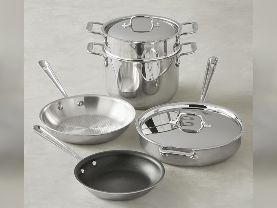 Stainless-Steel 7-Piece Healthy Cookware Set by All-Clad