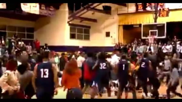 Watch: Basketball game spirals into all-out brawl