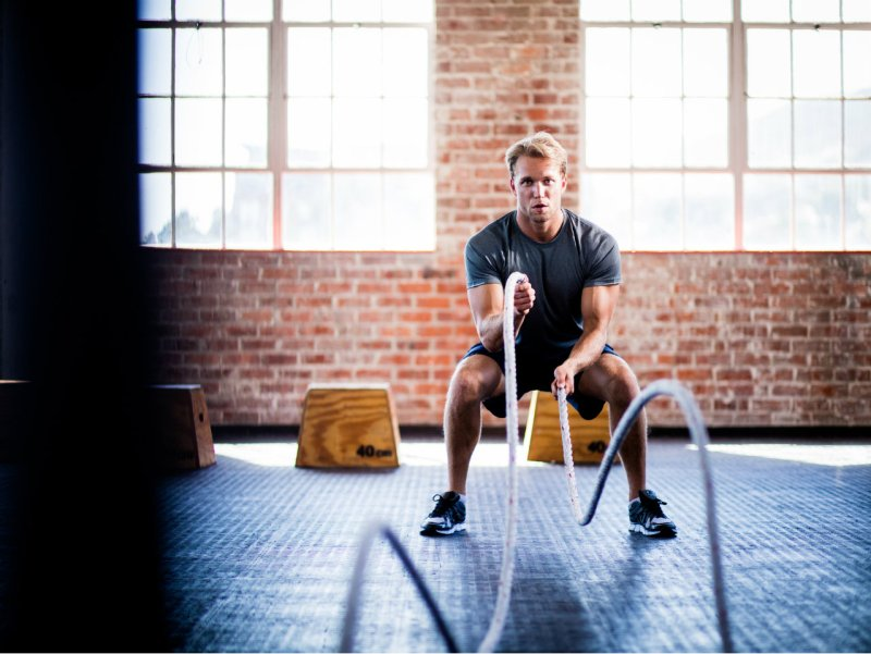Battle rope exercise at gym