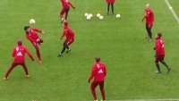 "FC Bayern Munich players practice with a ""rondo"" drill."