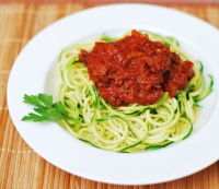 2. Zoodles with chunky, spicy meat sauce