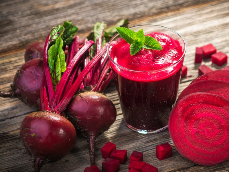 Glass Of Beet Juice With Raw Beets