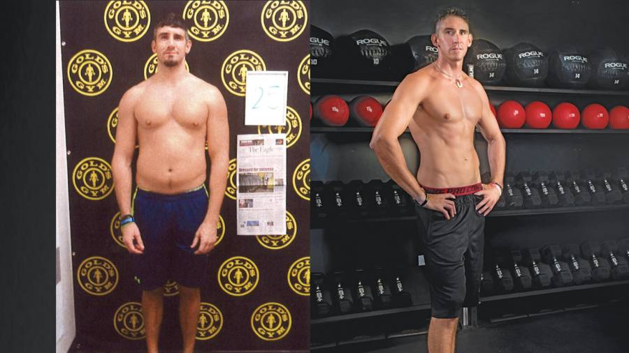 Before and after workout photos