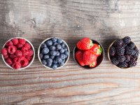 Raspberries, strawberries, blueberries, blackberries