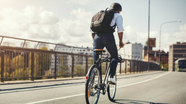 Man riding bicycle to work