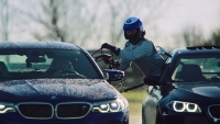 BMW M5 refuels mid-drift
