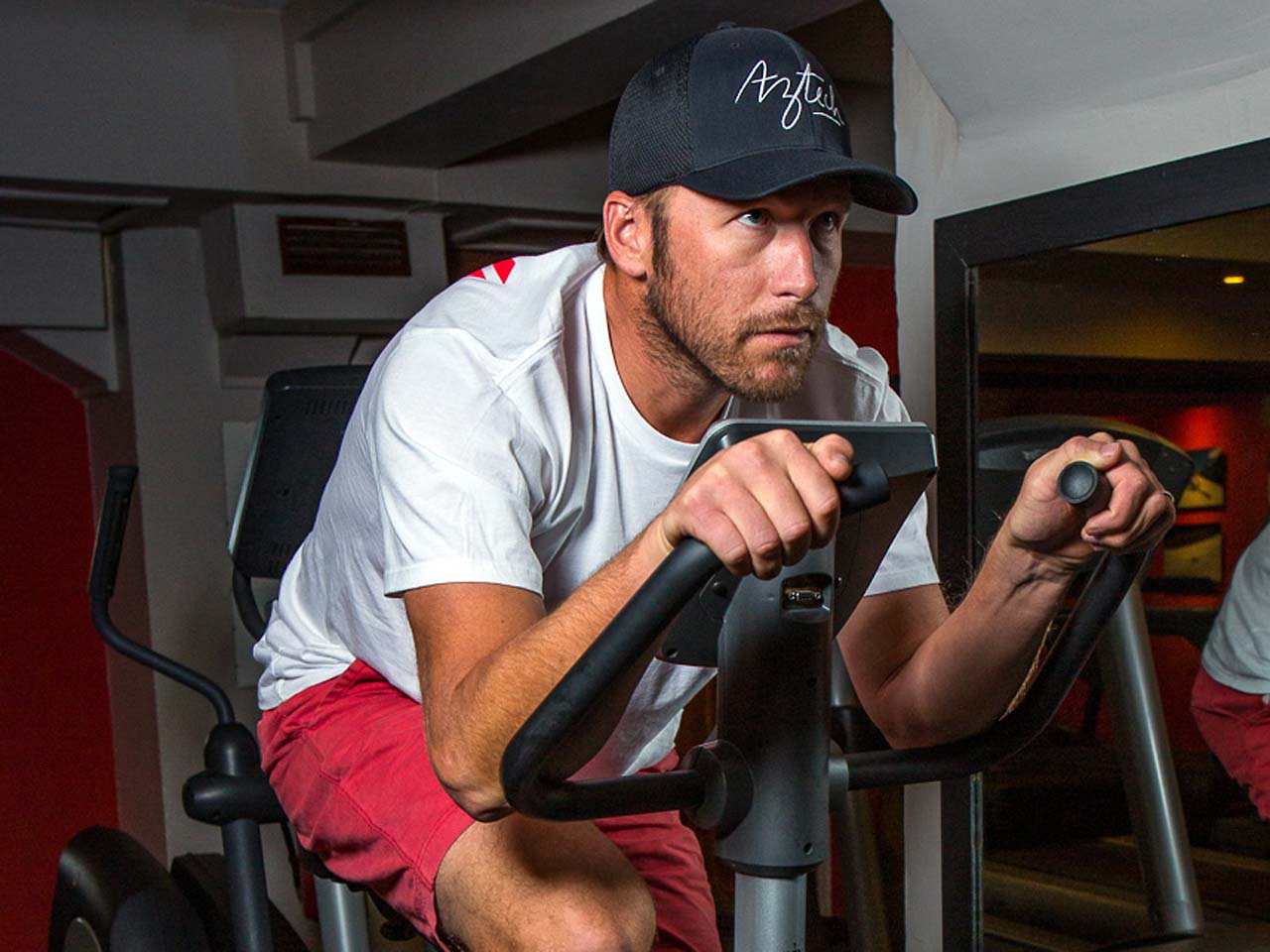 Bode Miller trains on a stationary bike. Photo courtesy Jonathan Selkowitz.