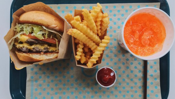 Burger, fries and soda