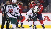Tom Wilson Capitals fight with Minnesota Wild