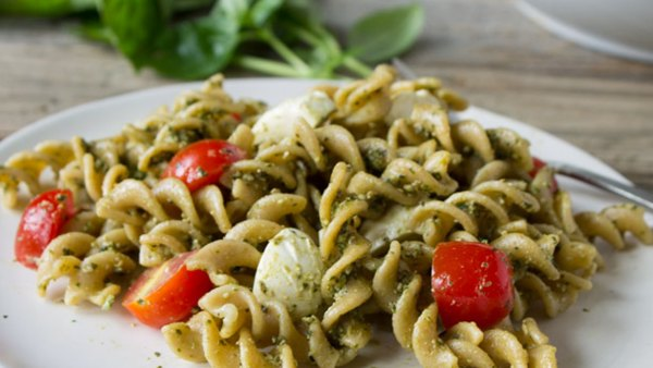 Caprese Pasta Salad with Hemp Pesto