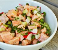 Fresh Salmon Ceviche with Cucumbers and Radishes