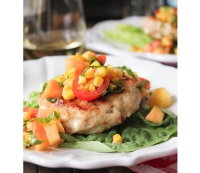 Chicken and Goat Cheese Burgers With Peaches, Corn, and Cherry Tomatoes