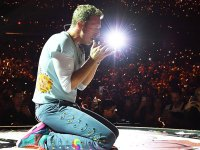 Chris Martin of Coldplay performing onstage
