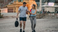 Couple Walking to Gym