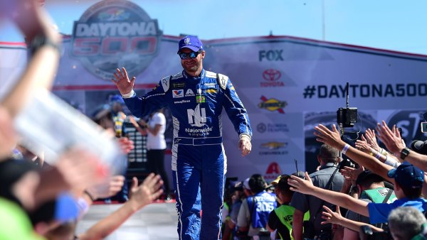 Dale Earnhardt Jr. waves to the crowd at the Daytona 500