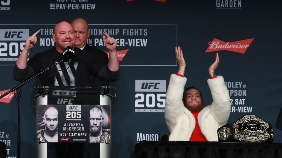 Dana White and Conor McGregor appear at a press conference promoting UFC 205.