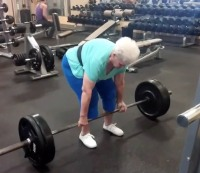 Shirley Webb, 78, deadlifts at Club Fitness in Wood River, Illinois.
