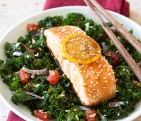 3. Dinner: Asian Salmon with Kale and Tomatoes