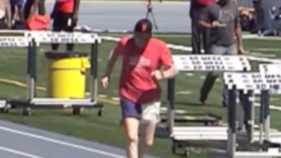 Don Pellmann runs the 100-meter dash at the San Diego Senior Olympics.