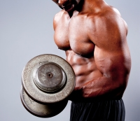 Man Does Bicep Curl Exercise