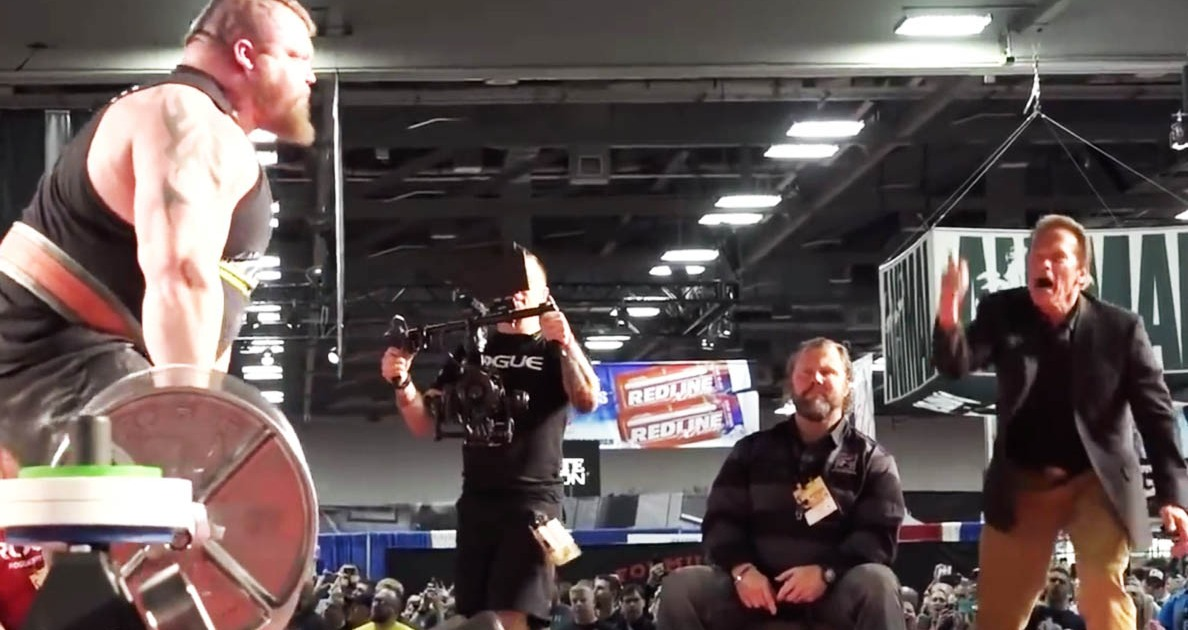 Eddie Hall Breaks the World Deadlift Record, Arnold