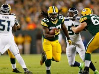 Eddie Lacy rushes against the Seattle Seahawks