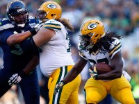 Eddie Lacy rushes against the Seattle Seahawks for the Packers