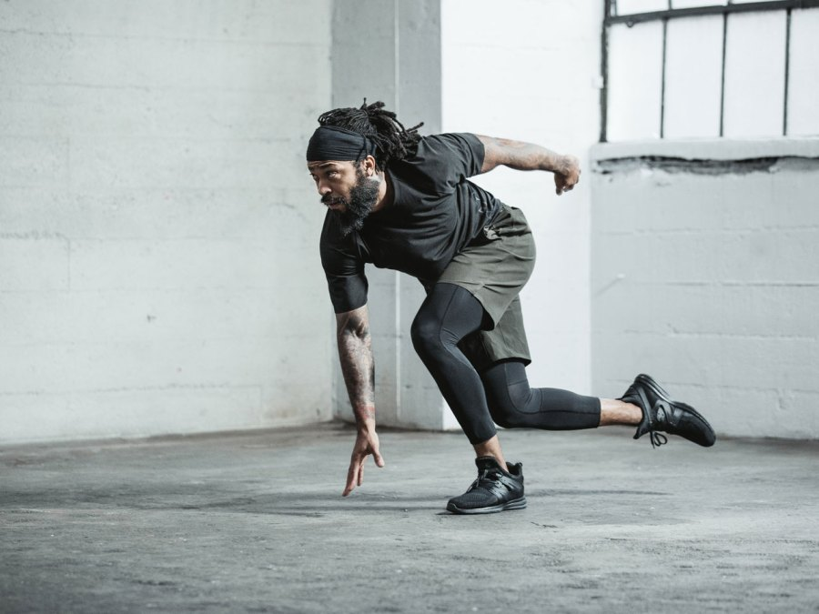 Man training in Lululemon x Roden Gray collection