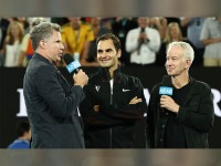 Will Ferrell and Roger Federer at Australian Open