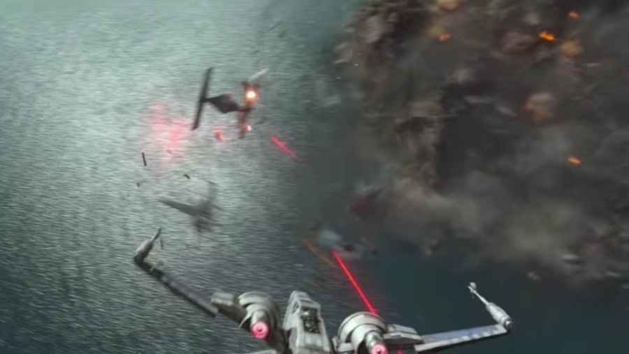 "A Rebel pilot takes down a TIE fighter in ""Star Wars: The Force Awakens"""