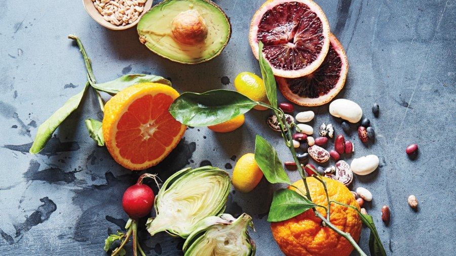 Citrus fruits and green fruits and vegetables