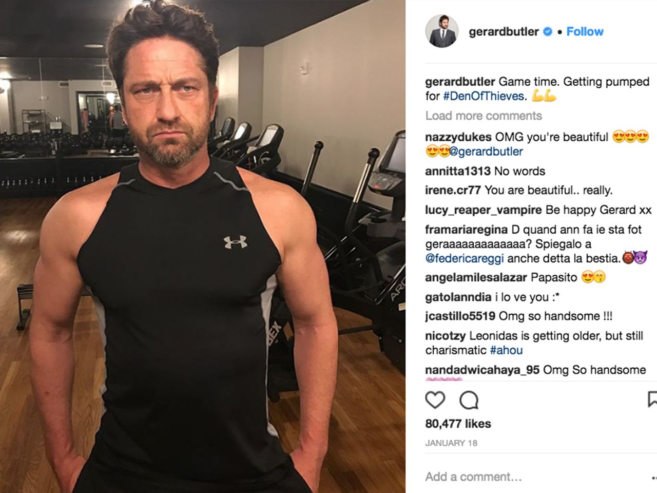 When you're one of the most jacked actors in Hollywood, you have to keep up  with a strict fitness routine. Here, Butler gets pumped at the gym in ...