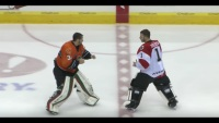 Watch: Goalie wins fight with vicious punch